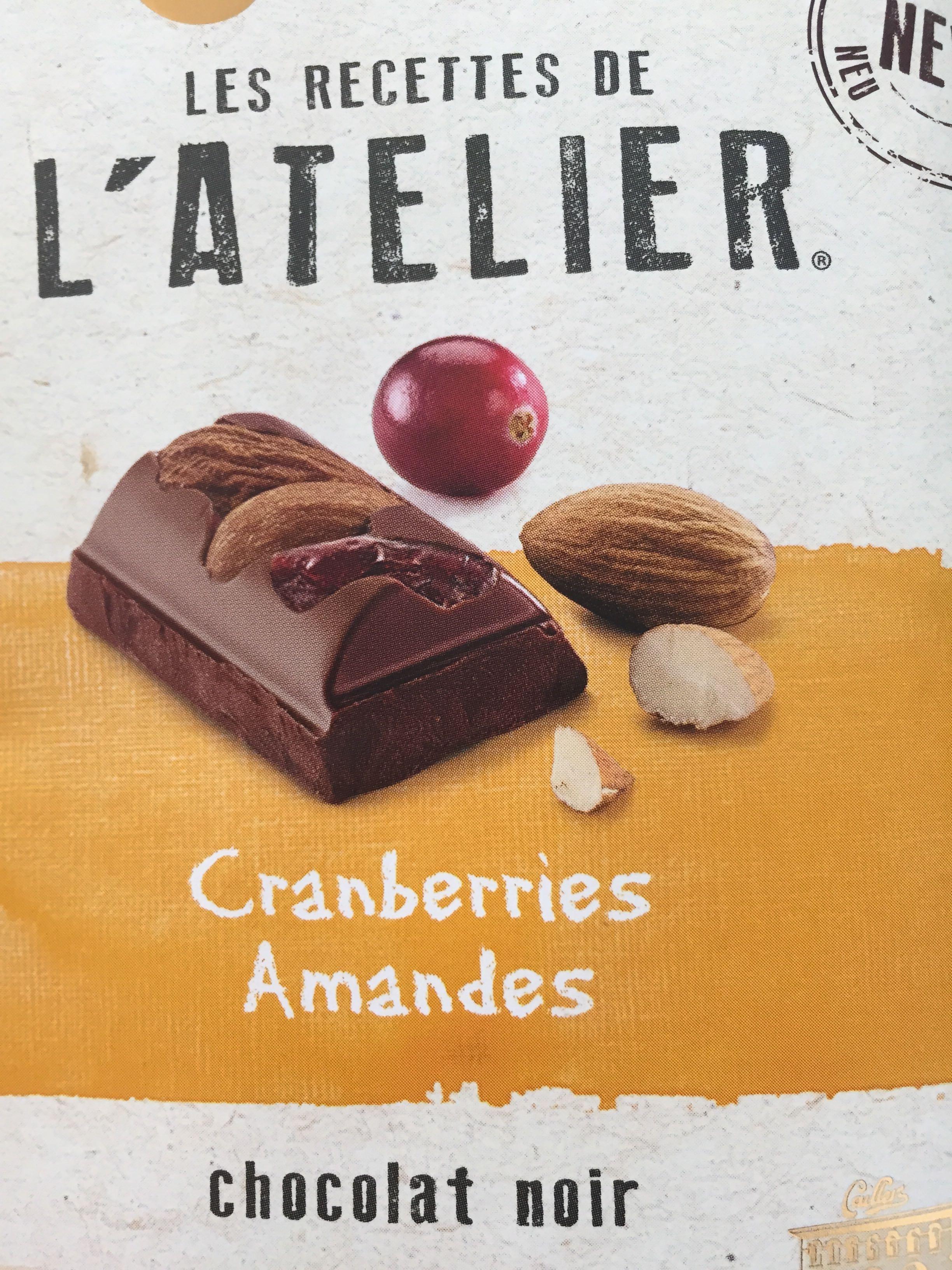 Chocolat noir extrafin avec des amandes entières et cranberries - Prodotto - fr