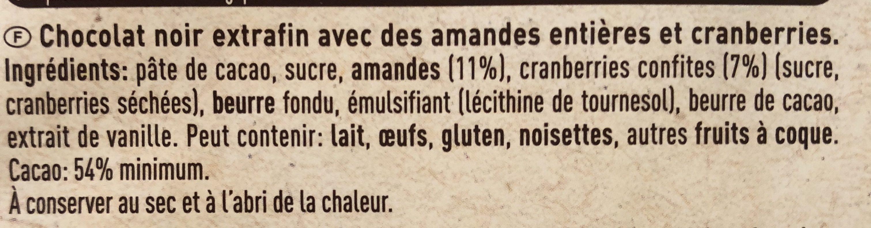 Chocolat noir extrafin avec des amandes entières et cranberries - Ingredienti - fr