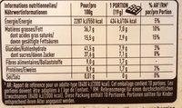 Chocolat noir extrafin avec des amandes entières et cranberries - Valori nutrizionali - fr