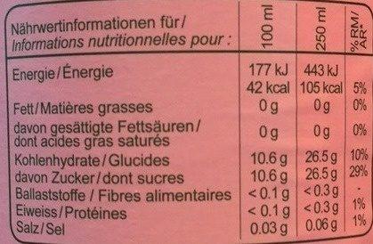Romanette Limonade Grapefruit - Voedingswaarden - fr