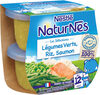 NESTLE NATURNES Les Sélections Petits Pots Bébé Légumes Verts, Riz, Saumon -2x200g -Dès 12 mois - Produit