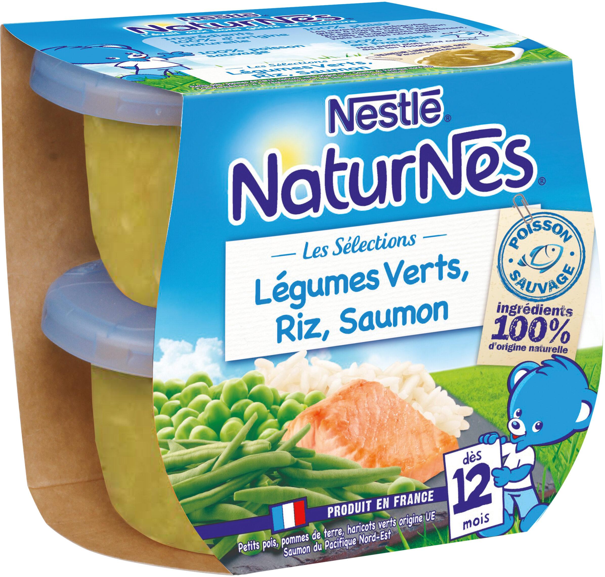 NESTLE NATURNES Les Sélections Petits Pots Bébé Légumes Verts, Riz, Saumon -2x200g -Dès 12 mois - Produit - fr