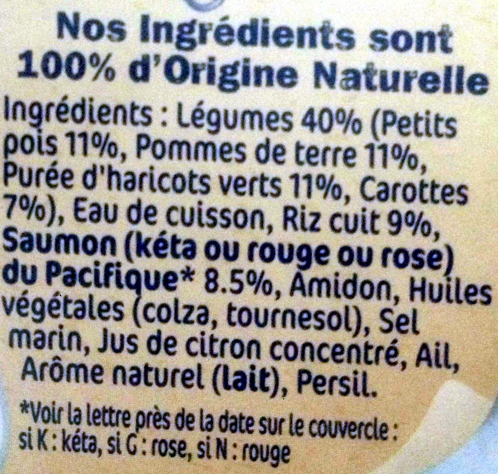 NaturNes Légumes Verts, Riz, Saumon - Ingrédients