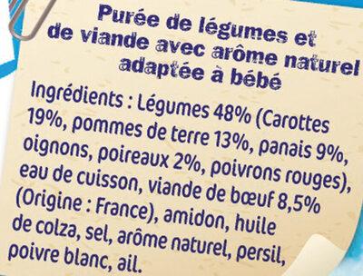 NESTLE NATURNES Les Sélections Légumes du pot-au-feu Bœuf 2x200g -Dès 8 mois - Ingrédients - fr