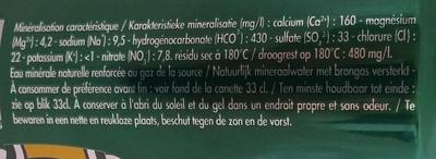 Perrier (format slimcan) - Ingrediënten