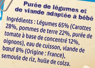 NESTLE NATURNES Les Sélections Petits Pots Bébé Pommes de terre, Bœuf à la tomate -2x200g -Dès 6 mois - Ingredienti