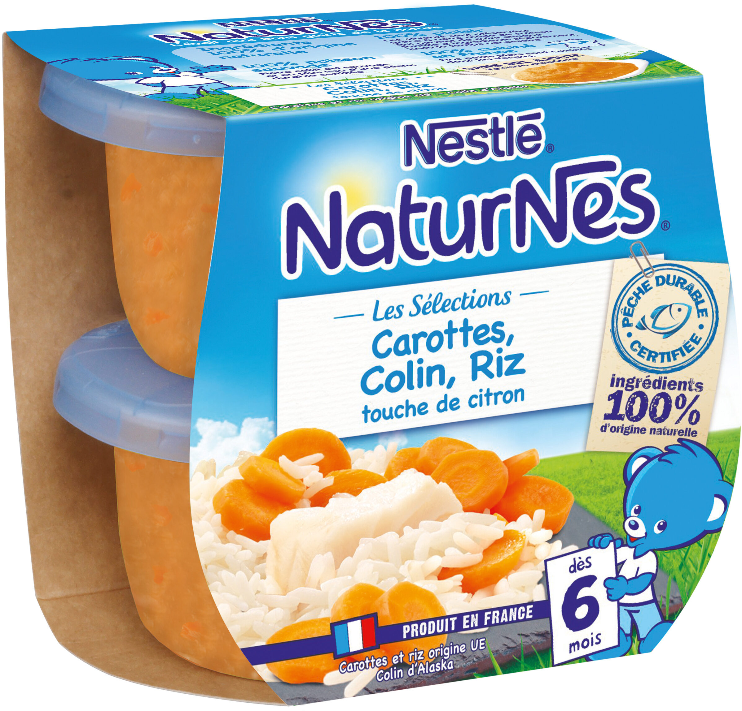 NESTLE NATURNES Les Sélections Petits Pots Bébé Carottes, Merlu blanc, Riz touche de citron -2x200g -Dès 6 mois - Prodotto - fr