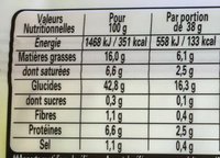 Tarte en Or feuilletée -30% de Mat. Gr. - Informations nutritionnelles