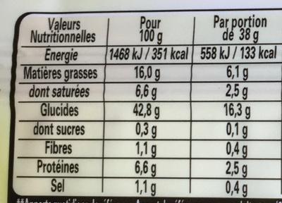 TARTE EN OR pâte feuilletée -30% de matière grasse - Nutrition facts - fr