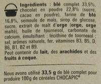 NESTLE CHOCAPIC Céréales Petit Déjeuner - Ingrédients - fr