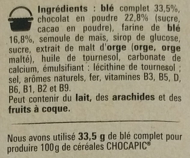 NESTLE CHOCAPIC Céréales Petit Déjeuner - Ingrediënten - fr