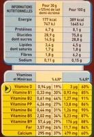 Céréales chocapic - Nutrition facts