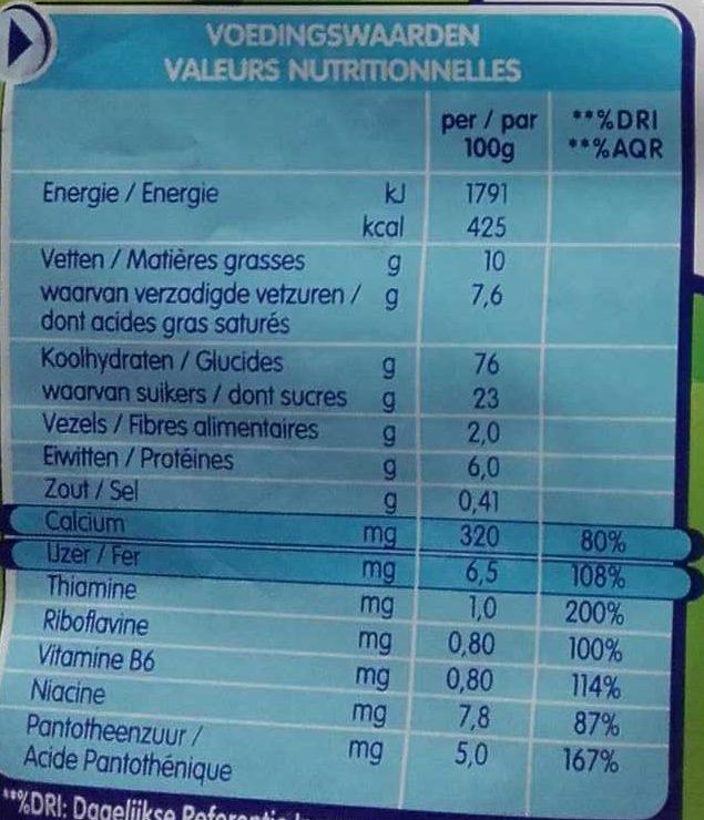 Nestlé Biscuit - Voedingswaarden - fr
