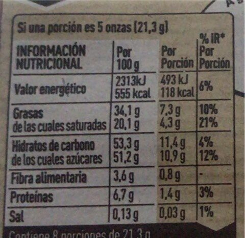 - Valori nutrizionali - es