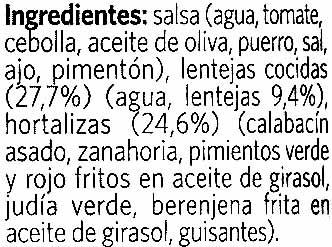 Lentejas con verduras - Ingrédients - es