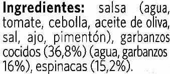 Vegetal garbanzos con espinacas - Ingredientes