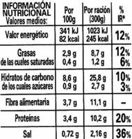 Alubia pinta con arroz - Información nutricional