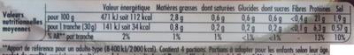 Le Bon Poulet, Rôti au Thym (4 Tranches) - Voedingswaarden - fr
