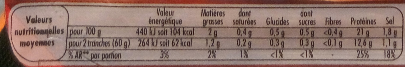 Le Bon Poulet Filet Nature (4 tranches) - Nutrition facts