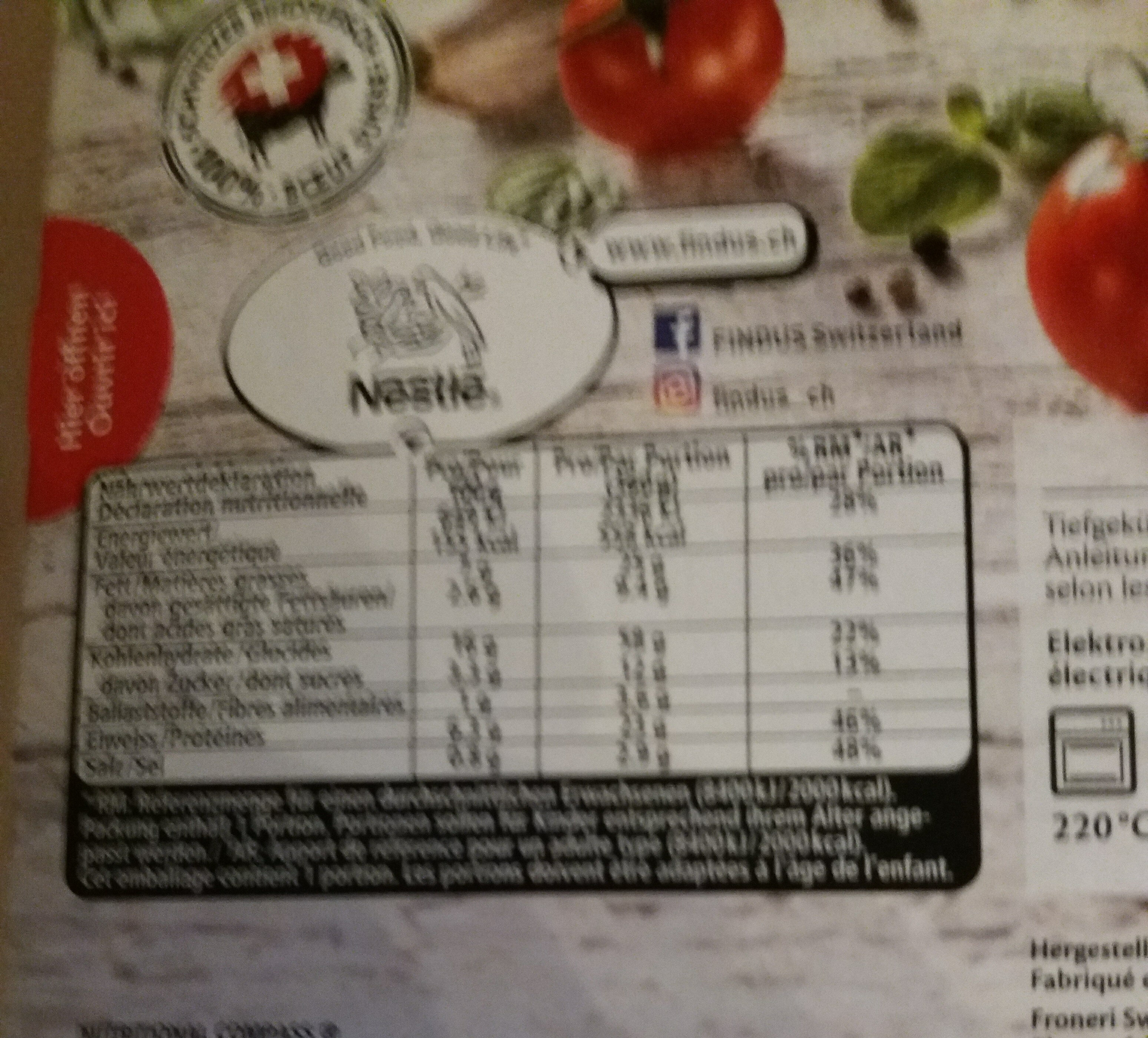 Lasagne Bolognese - Nutrition facts