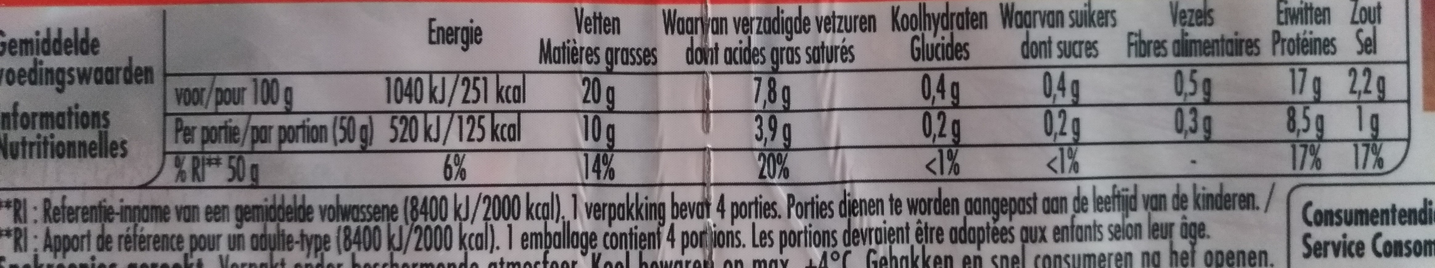 Allumettes de lardon - Nutrition facts - fr