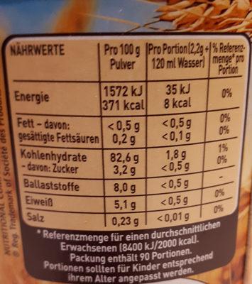 Caro - Nutrition facts - de