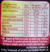 Soupe Japonaise (poulet & champignons noirs façon Teriyaki) - Nutrition facts