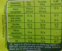 Nouilles au Bœuf - Nutrition facts