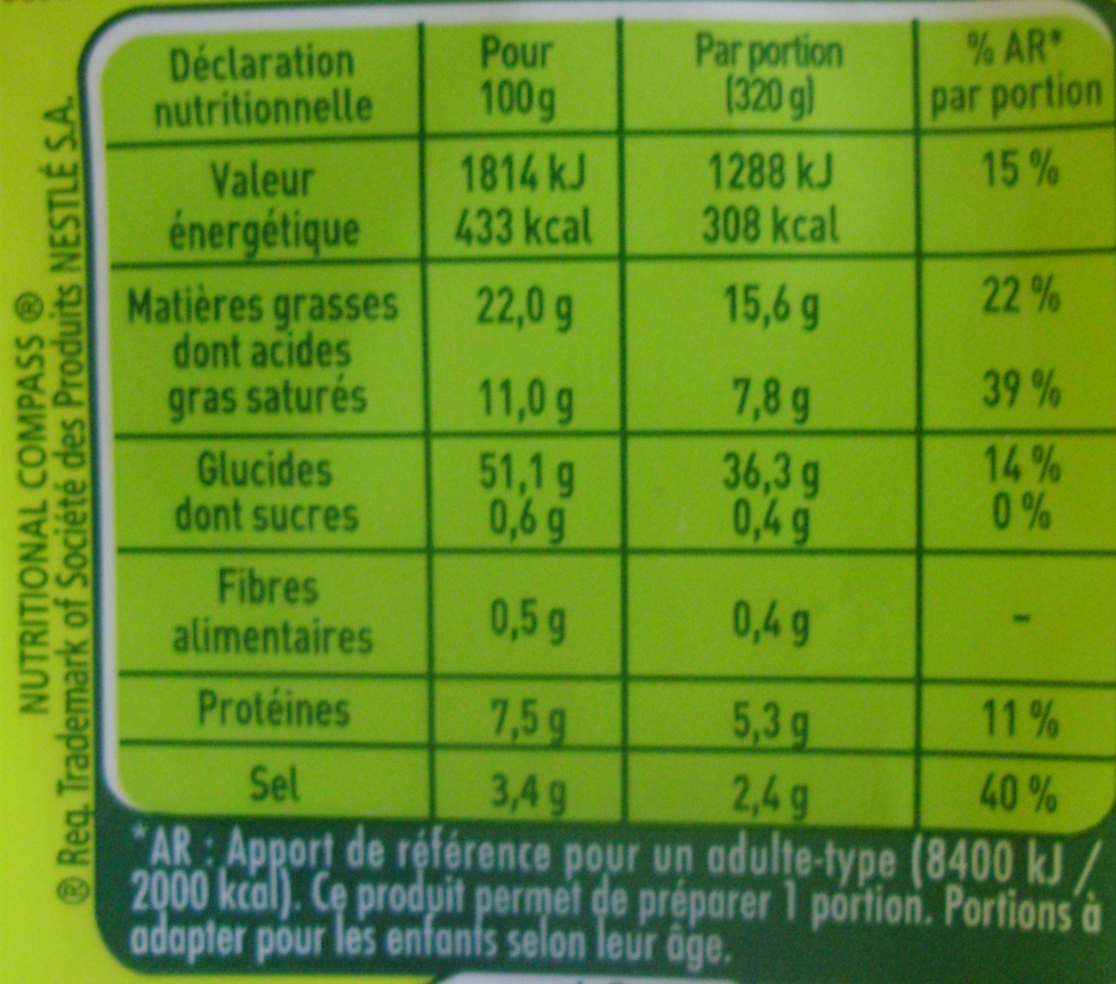 Nouilles au Curry - Nutrition facts - fr