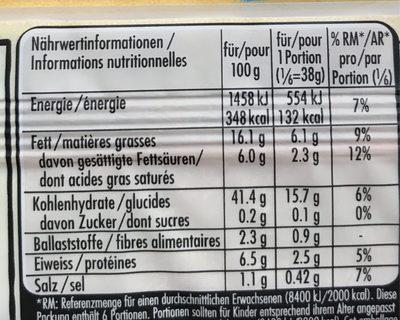 Pâte Feuilletée Rond -30% Mg 230 G - Nutrition facts - fr