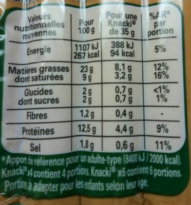 KNACKI Original - Informations nutritionnelles - fr