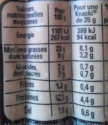 6 Original Knacki, 100 % Pur Porc - Informations nutritionnelles - fr