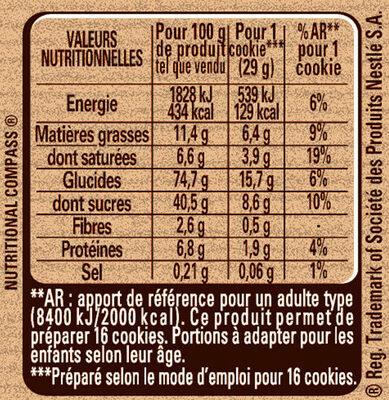 Préparation pour Cookies au Chocolat Caramel - Informations nutritionnelles - fr