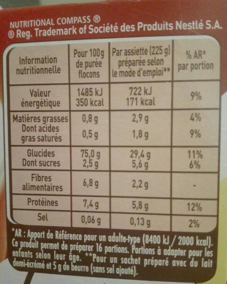 MOUSLINE Purée Nature, 4 sachets pour 4 personnes (4x130g) - Informations nutritionnelles - fr