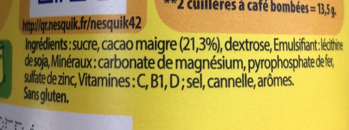 NESQUIK Poudre Cacaotée boîte - Ingredienti - fr