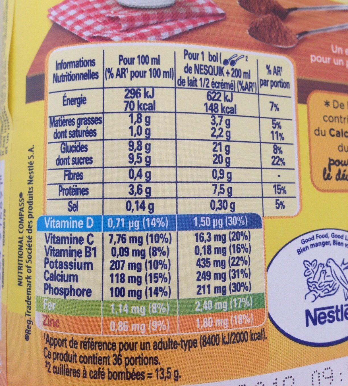 NESQUIK Poudre Cacaotée boîte - Informazioni nutrizionali - fr