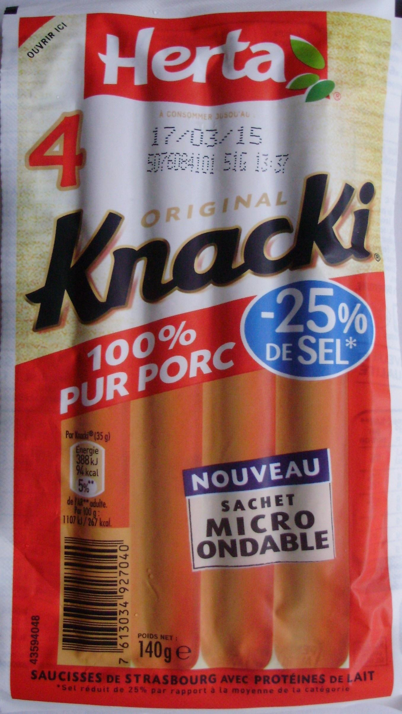 4 Original Knacki, 100 % Pur Porc (- 25 % de Sel) - Product
