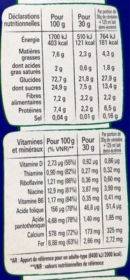 Nestle crunch cereales - Valori nutrizionali - fr
