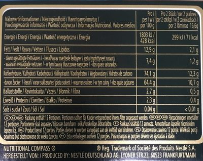 After Eight 200G Nestle - Informació nutricional