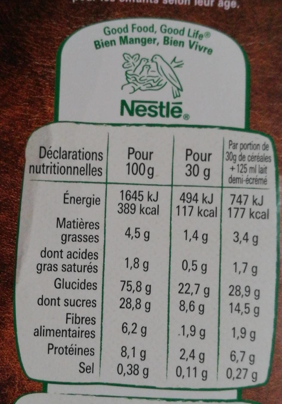 Chocapic - Informations nutritionnelles