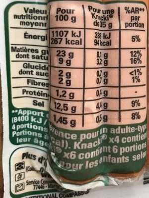 6 Original Knacki, Happy Birthday (Sel Réduit de 25 %) - Voedingswaarden - fr