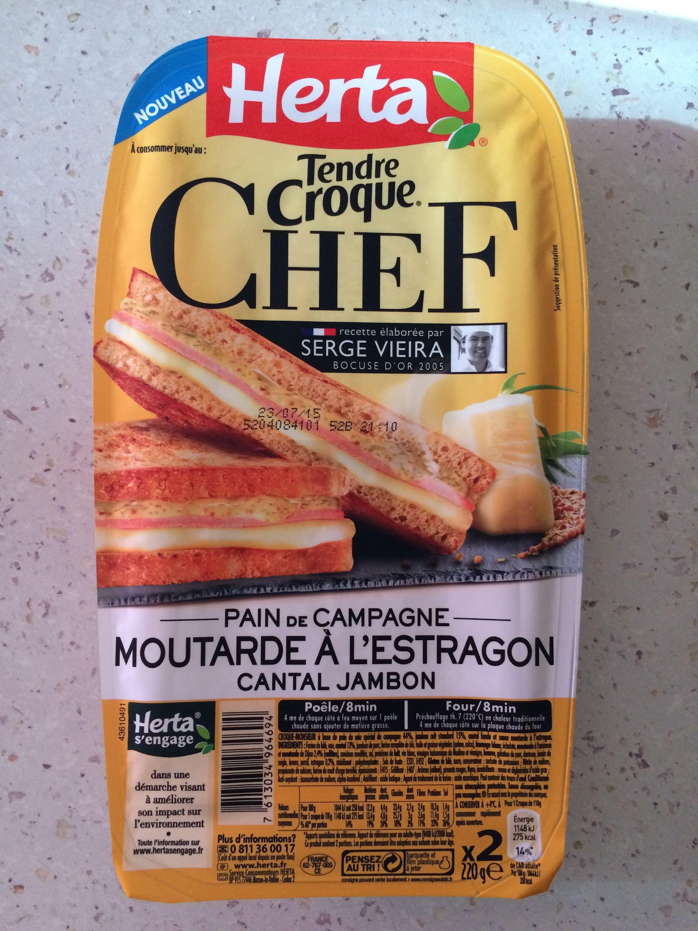 Tendre Croque Chef Pain de Campagne Moutarde à l'Estragon Cantal Jambon - Produit - fr
