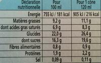 Extrême vanille de Madagascar - Nutrition facts