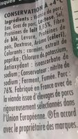 KNACKI Original saucisses pur porc -25% sel - Ingrediënten - fr