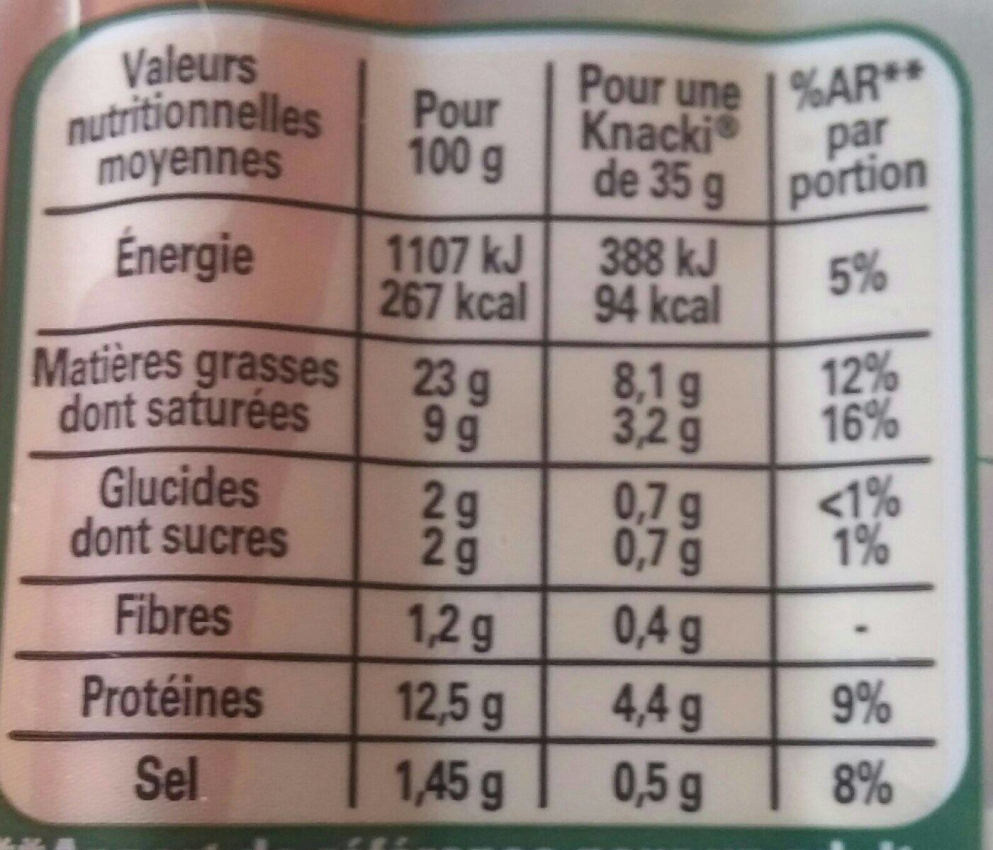 KNACKI Original saucisses pur porc -25% sel - Voedingswaarden - fr