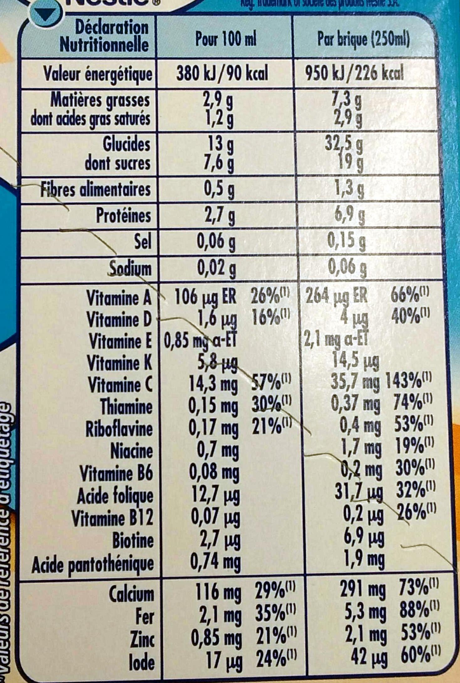 P'tit Dej Biscuité - Informations nutritionnelles