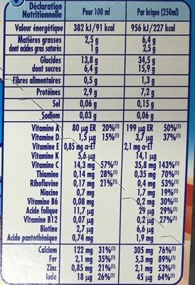 P'tit Déj Saveur Chocolat au Lait - Nutrition facts - fr