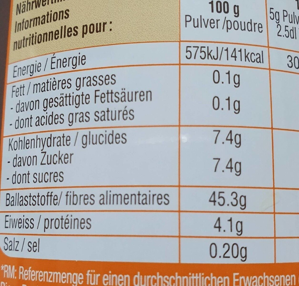 Intenso - Nutrition facts