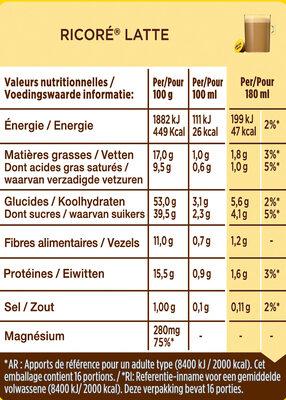 Capsules NESCAFE Dolce Gusto RICORE Latte 16 Capsules - Valori nutrizionali - fr