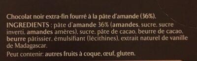 Chocolat noir pâte d'amande - Ingrédients - fr